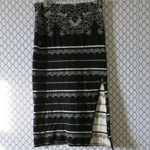 Free People Black Beige Stripe Slit Pencil Skirt